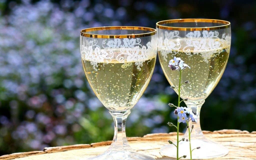 champagne Ruinart Blanc de Blancs avec du dessert